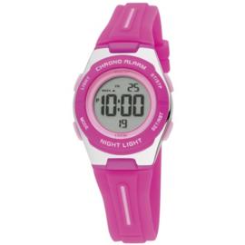 Nowley 8-6260-0-3 digitaal horloge 30 mm 100 meter roze/ zilverkleur