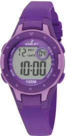 Nowley 8-6243-0-5 digitaal horloge 32 mm 100 meter paars/ lila