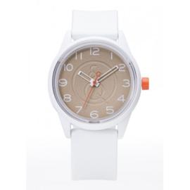 Q&Q RP00J041Y Smile Solar horloge 40 mm 50 meter wit/ goudkleurig
