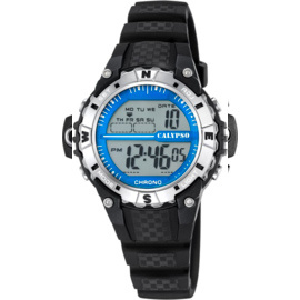 Calypso K5684/1 digitaal horloge 37 mm 100 meter zwart/ blauw