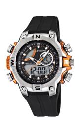 Calypso K5586/4 analoog/ digitaal horloge 46 mm 100 meter zwart/ oranje
