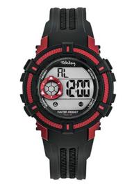 Tekday 654015 digitaal horloge 38 mm 100 meter zwart/ rood