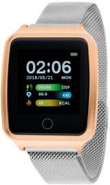 Nowley 21-2028-0-3 smartwatch 37x45 mm rosé incl. donker grijze stalen band