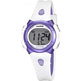 Calypso K5609/2 digitaal horloge 34 mm 100 meter wit/ paars
