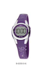 Nowley 8-6300-0-6 digitaal horloge 28 mm 100 meter paars/ grijs