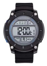 All Blacks 680433 digitaal horloge 45 mm 100 meter zwart/ blauw