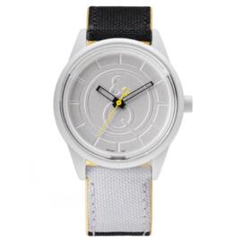 Q&Q RP00J010Y Smile Solar horloge 50 meter 40 mm zwart/ wit/ geel