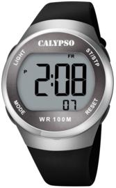 Calypso K5786/4 digitaal horloge 38 mm 100 meter zwart/ zilverkleurig