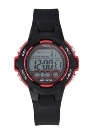 Tekday 654727 digitaal horloge 38 mm 100 meter zwart/ rood