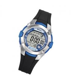 Tekday 653878 digitaal horloge 38 mm 100 meter zwart/ blauw