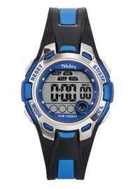 Tekday 653921 digitaal horloge 37 mm 100 meter zwart/ blauw