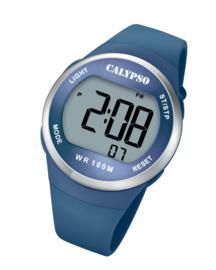 Calypso K5786/3 digitaal horloge 38 mm 100 meter blauw/ zilverkleurig