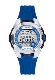 Tekday 654733 digitaal horloge 38 mm 100 meter blauw/ zilverkleurig