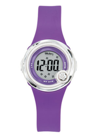 Tekday 653272 digitaal horloge 30 mm 50 meter paars/ wit