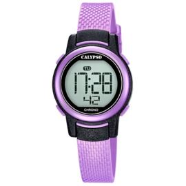 Calypso K5736/4 digitaal horloge 30 mm 100 meter paars/ zwart