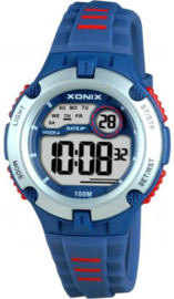 Xonix IV-006 digitaal horloge 34 mm 100 meter blauw/ rood