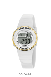 Nowley 8-6154-0-1 digitaal horloge 31 mm 100 meter wit/ goud