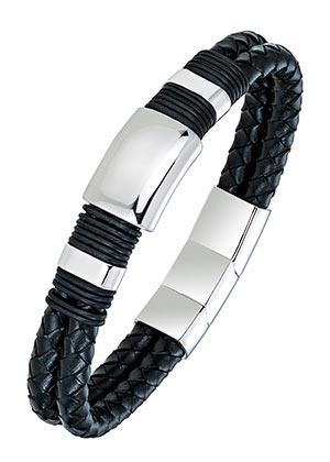 All Blacks 682130 zwart gevlochten leren armband 21 cm
