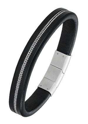 All Blacks 682125 zwart leren armband 21 cm
