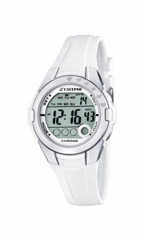 Calypso K5571/1 digitaal horloge 38 mm 100 meter wit/ grijs