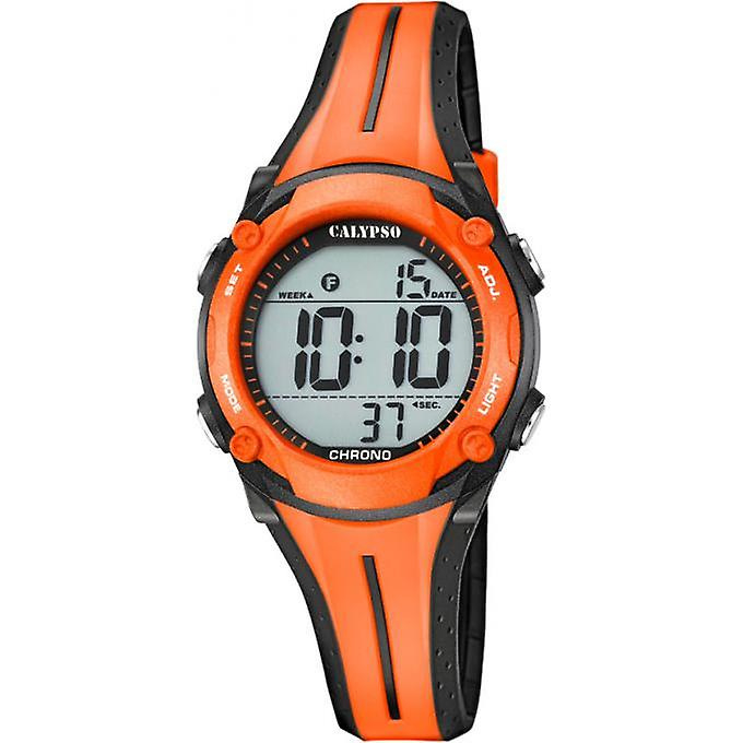 Calypso K5682/B digitaal horloge 34 mm 100 meter oranje/ zwart