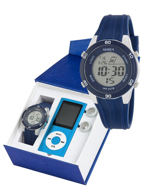Marea B35322/2 digitaal horloge 38 mm 50 meter blauw
