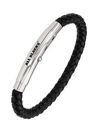 All Blacks 682095 zwart gevlochten leren armband 21 cm