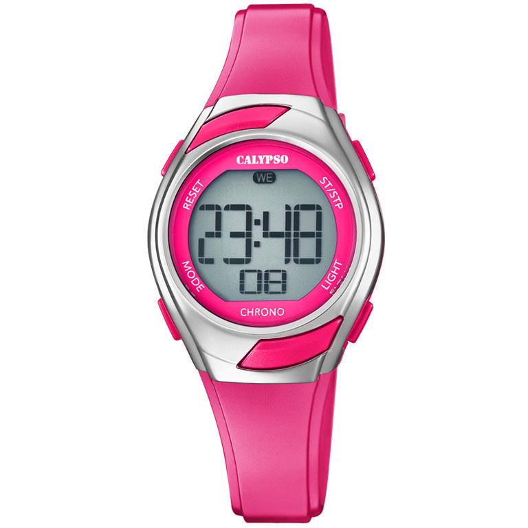 Calypso K5738/4 digitaal horloge 30 mm 100 meter roze/ zilverkleur