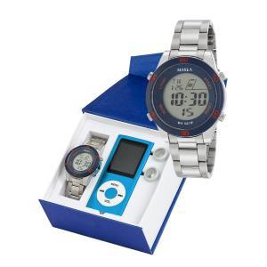 Marea B35323/3 digitaal horloge 38 mm 50 meter blauw/ rood