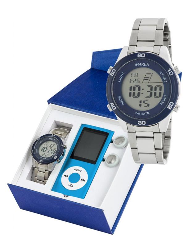 Marea B35323/2 digitaal horloge 38 mm 50 meter blauw/ wit