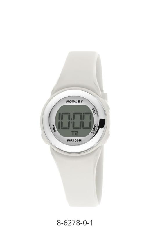 Nowley 8-6278-0-1 digitaal horloge 29 mm 100 meter wit/ zilverkleur