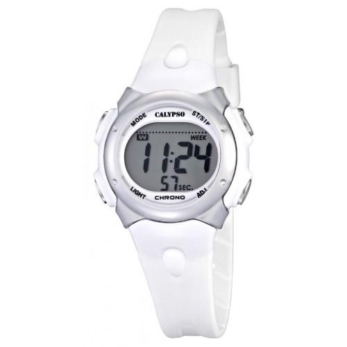 Calypso K5609/1 digitaal horloge 34 mm 100 meter wit/ grijs
