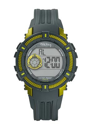 Tekday 654016 digitaal horloge 38 mm 100 meter grijs/ groen