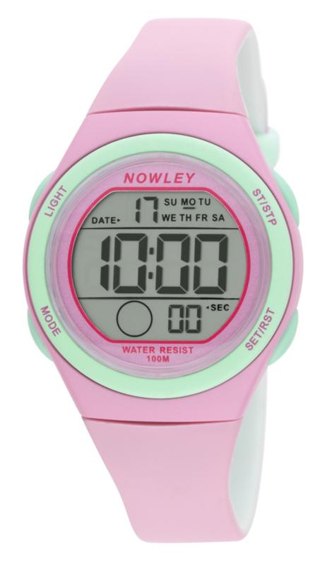 Nowley 8-6303-0-2 digitaal horloge 34 mm 100 meter roze/ mint
