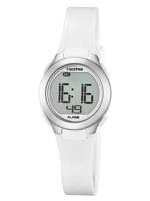 Calypso K5677/1 digitaal horloge 28 mm 100 meter wit/ zilverkleur