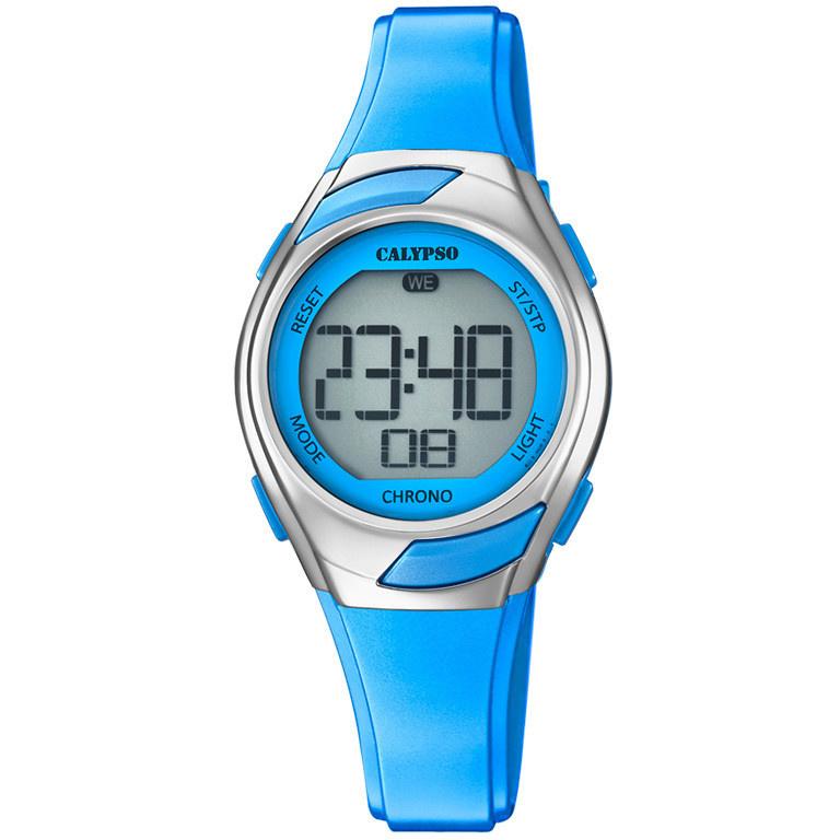 Calypso K5738/3 digitaal horloge 30 mm 100 meter blauw/ zilver