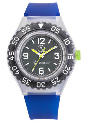 Q&Q 651032 Smile Solar tiener horloge 43 mm 200 meter blauw/ zwart