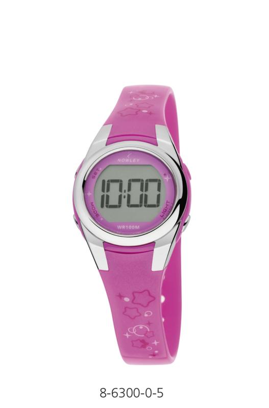 Nowley 8-6300-0-5 digitaal horloge 28 mm 100 meter roze/ wit