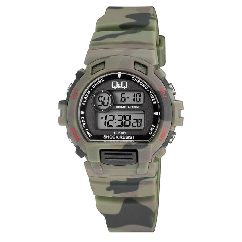 Q&Q M153J008 digitaal horloge 40 mm 100 meter leger groen