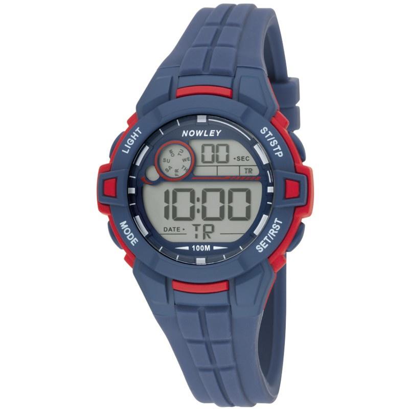 Nowley 8-6285-0-2 digitaal horloge 39 mm 100 meter blauw/ rood