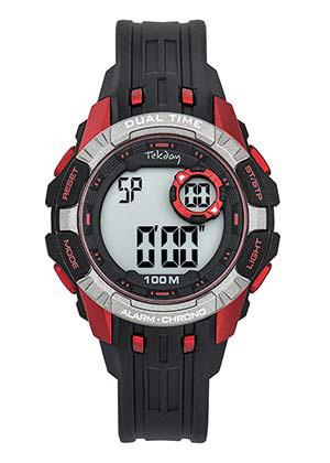 Tekday 653261 digitaal horloge 40 mm 100 meter zwart/ rood