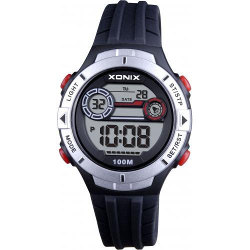 Xonix EX-007 digitaal horloge 34 mm 100 meter zwart/ zilverkleurig