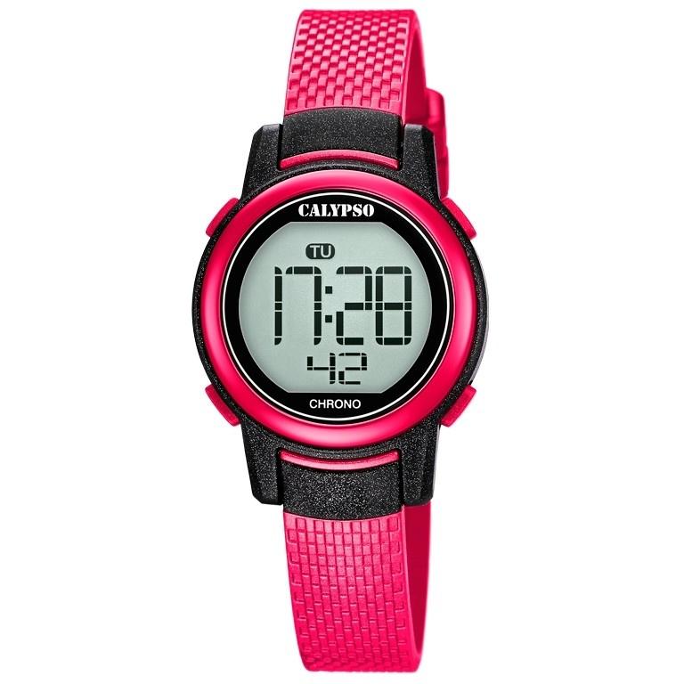 Calypso K5736/5 digitaal horloge 30 mm 100 meter fuchsia/ zwart