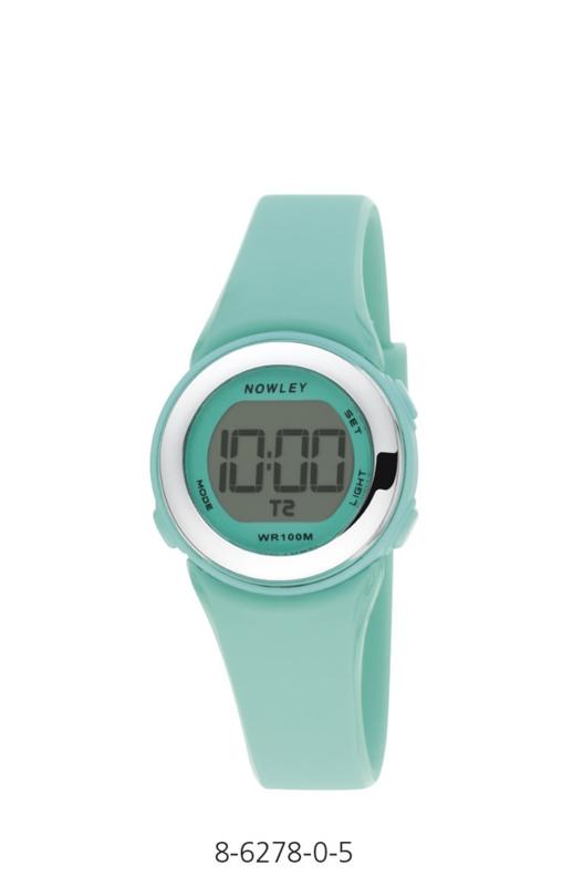 Nowley 8-6278-0-5 digitaal horloge 29 mm 100 meter turquoise/ zilverkleur