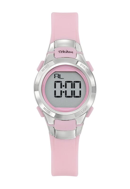 Tekday 654667 digitaal horloge 27 mm 100 meter roze/ zilverkleurig