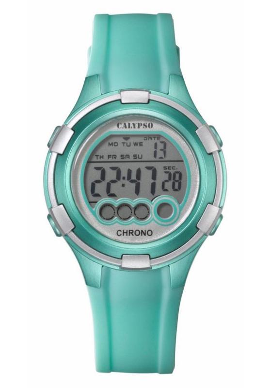 Calypso K5692/7 digitaal horloge 38 mm 100 meter turquoise/ zilverkleurig