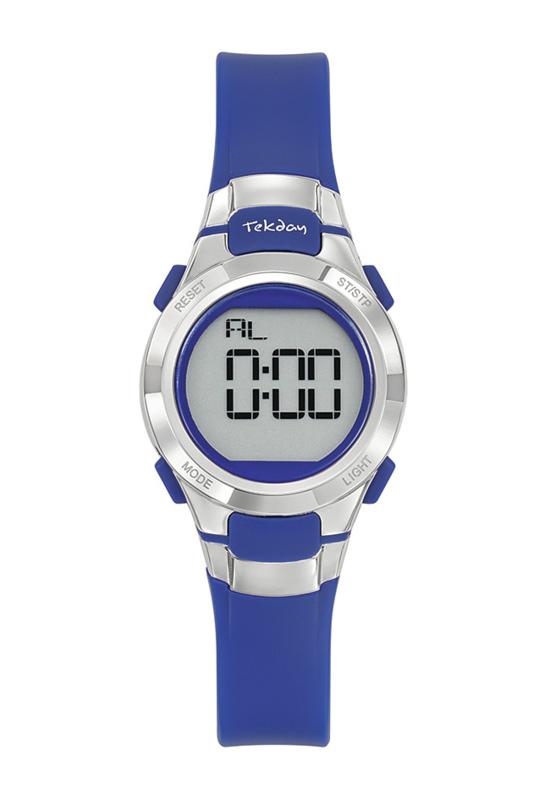 Tekday 654668 digitaal horloge 27 mm 100 meter blauw/ zilverkleurig