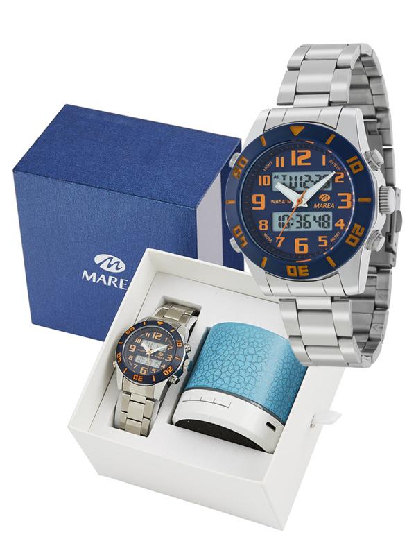 Marea B35281/12 analoog/ digitaal horloge 38 mm 50 meter blauw/ oranje