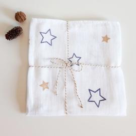 Hydrofiel doek sterren donkerblauw - zand