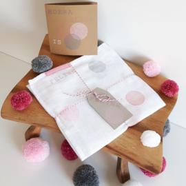 Hydrofiel doek cirkels roze - grijs